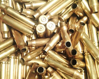 223 Caliber Bullet Casings! Set of 10. Gold Tone, Polished! Empty Spent Rifle Ammo Shells! Makes Cute Steampunk Jewelry, Earrings, Pendants!