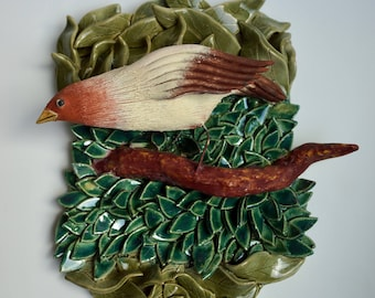 One of a Kind Ceramic Wall Sculpture of Bird with Leaves