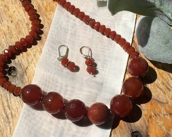 Custom Carnelian Necklace with Matching Earrings