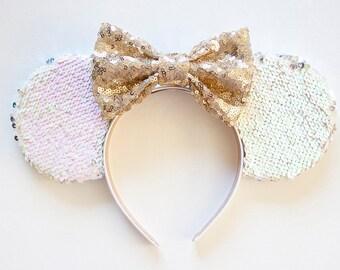 Minnie Ears Headband / White Mouse Ears / Sequin Minnie Ears / Disney Ears / Minnie Mouse Ears / Mickey Mouse Ears / Mickey Ears Disney Gift