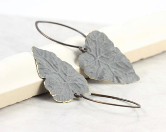 Gray Leaf Earrings Rustic Woodland Boho Jewelry Brass Patina Handmade Copper Ear Wires Winter Fashion Mothers Day Gift for Her