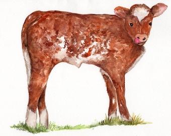Aquarelle originale de veau, aquarelle vache de 8 x 10, vache art, aquarelle animaux ferme rustique, vache, vache illustration, art mural de vache