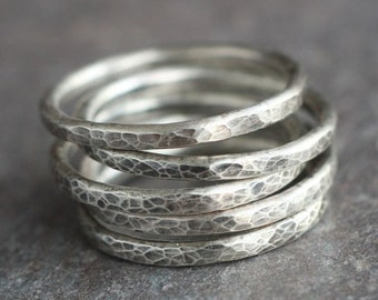 Lina - Simple Oxidized Hammered Sterling Silver Ring Band Stacking Rings