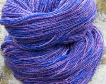 Hand Dyed Lace Weight 100% Merino Yarn--Pansy Colorway