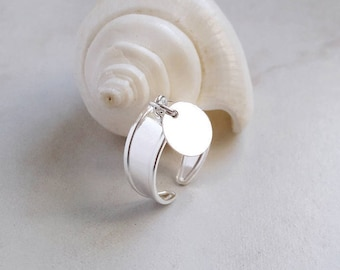 Wide Silver Band Wide Ring with Coin Silver Band with Coin Large silver Band with Charm Cuff Ring with Charm Adjustable Ring nickel-free