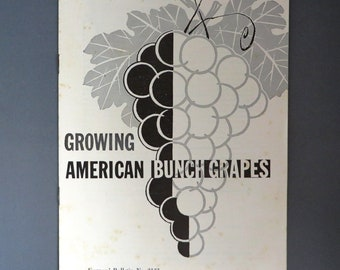 Growing American Bunch Grapes, Vintage Farmer's Bulletin, U.S. Department of Agriculture Booklet, Collectors Booklet