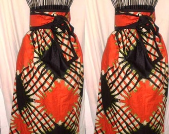 Ink Spot Abstract Tribal Print Amber A Line Maxi Skirt with Pockets and Detachable Belt Orange Black Gre