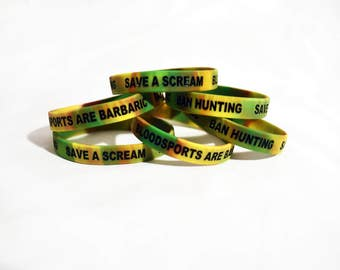Save A Scream Bloodsports Are Barbaric BAN HUNTING Animal Rights Silicone Wristband