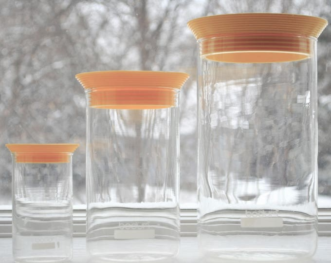 Vintage Bodum Presso Glass Canister Set 1970's Mid Century Modernist Yellow