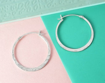 Small Hoop Earrings, Round Earrings, Sterling Silver Earrings, Silver Jewelry, Textured Earrings, Hoop Earrings, Simple Earrings, 925 Silver