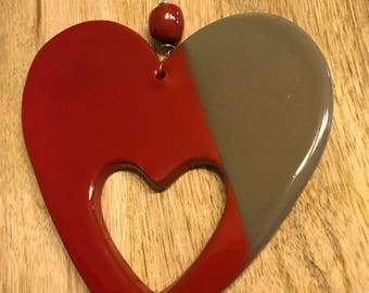 Red clay enameled red and grey heart