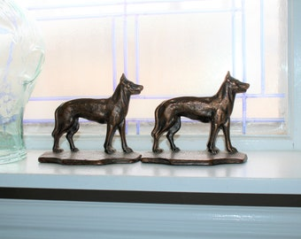 Vintage Art Deco Dog Bronze Bookends