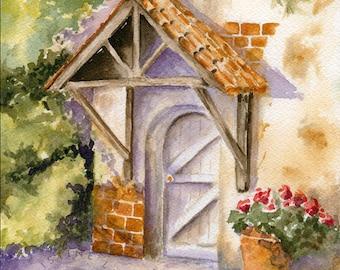 Come In fine art watercolor print: