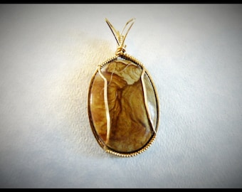 Picture Agate Wire Wrapped Pendant