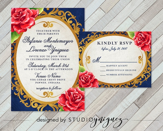 Beauty and the beast fairy tale printable wedding invitation set enchanted mirror and red rose wedding invitation set invite and rsvp