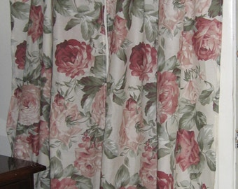 Curtains Farmhouse Cottage Cabbage Roses Tattered Chic Home Decor