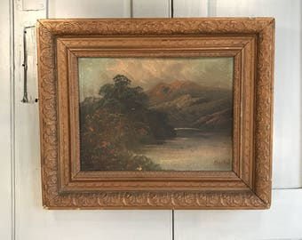 Antique 19th Century oil painting landscape mountain lake scene by Marshall