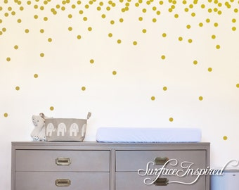 """Wall Decals Gold Polka Dots Nursery And Home Wall Decal Decor Stickers Confetti Polka Dot Gold Wall Decals 1"""", 1.5"""", 2"""", 2.5"""", 3"""" dots"""