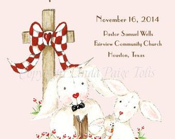 Girl Dedication Certificate-Pink Bunnies-Linda Paige Tolis-Dedication Certificate-Personalized Gift