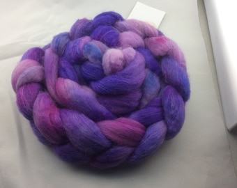 Hand dyed roving, Polwarth Wool and Tussah Silk from Hearthside Fibers, Colorway Vegas, a dream to spin