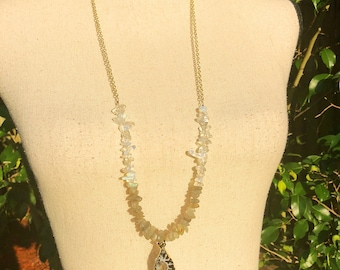 Moonstone & Labradorite Chip Gemstone with a Druzy Quartz and Gold Chain