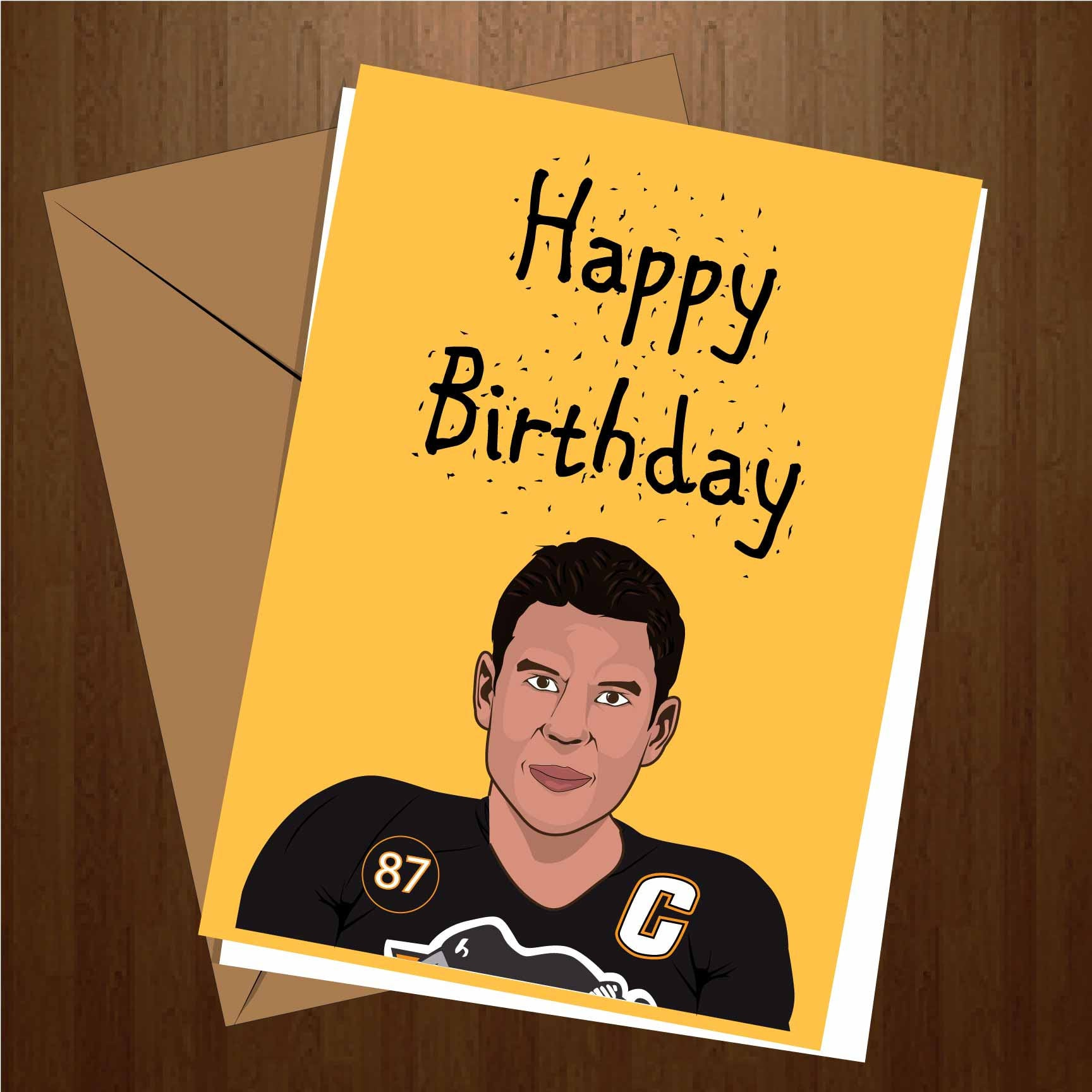 Sidney Crosby happy birthday greeting cards. Pittsburgh