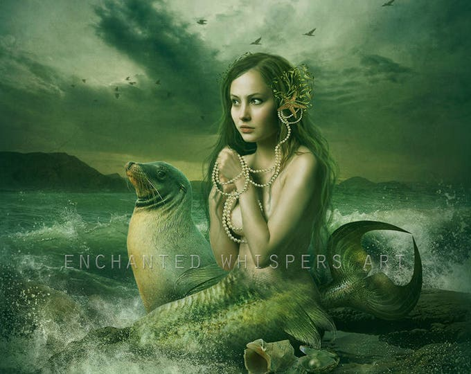 mermaid with seal classical vintage style art print