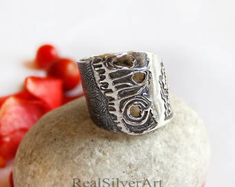 Sterling silver ring, Solid silver band, Boho silver ring, Bohemian jewelry, Jewelry women, Gift for women, Solid silver ring, Jewelry, Gift
