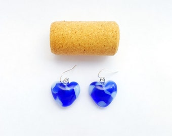 Recycled wine bottle heart earrings handmade from blue and frosted glass on sterling silver