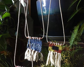 Denim Tapestry Necklace, fiber art accessory, weaving