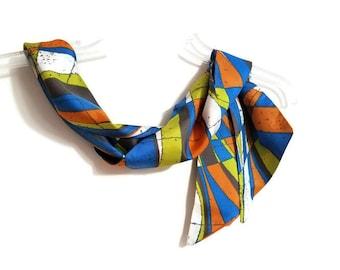 Mod Print Orange Blue Chartreuse White 70's Vintage Skinny Necktie Sash Belt Long Scarf