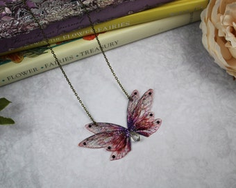 Enchanting Small Red and Purple Autumn Fairy Wing/Butterfly/Cicada Necklace