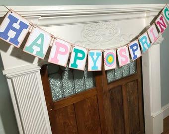 HAPPY SPRING Banner, Easter Banner, Spring Photo Prop, Spring Decoration, Rustic Banner