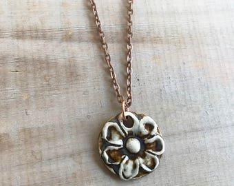 Midnight Blue Flowers Necklace-Porcelain Jewelry-Kim OHara Designs-Ceramic Jewelry