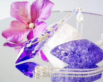 Swarovski Crystal Necklace Blue Violet Single Point Crystal Pendant 18 or 24 inch Chain