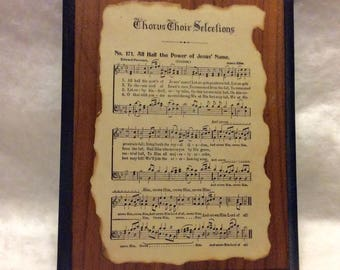 Vintage religious sheet music decorative wall hanging. Free ship to US
