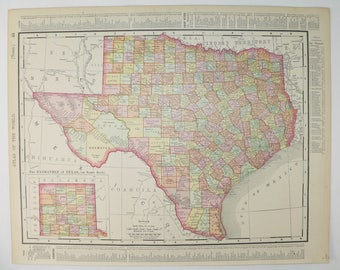 Antique Texas Map 1900 Vintage Map, Lone Star State TX Map, Indian Territory Map, Texas Wedding Gift for Couple, Man Cave Texas Gift for Guy