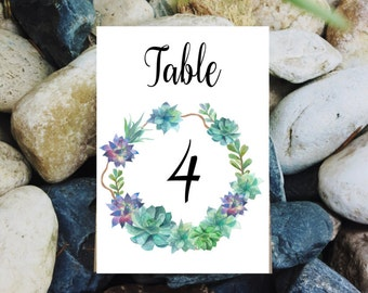 Wedding printables, Succulent wreath table number cards, Desert table number, Succulent table numbers, Autumn wedding, Printable table card
