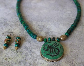 Green Azurite Strand with Afghan Malachite Pendant Necklace with Matching Earrings with Tibetan Beads.