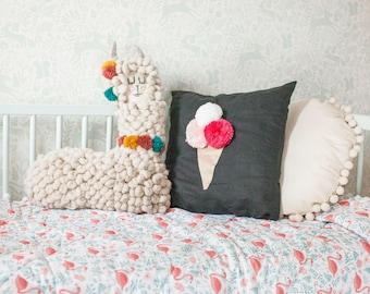 Ice cream cushion cover, ice cream pom pom cushion, ice cream cone pillow cover, nursery decor, nursery cushion