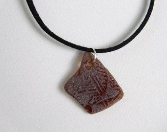 Suede Cord Necklace, Beer Bottle Sea Glass Pendant, Amber Brown Beach Glass, Chesapeake Bay Seaglass