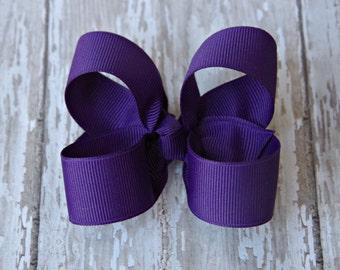 Purple Toddler Hair Bow 3 Inch Alligator Clip Baby Hairbow Purple Girls Hair Bow Purple Girls Bow