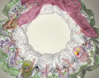 Diaper wreath-baby shower gift-new baby