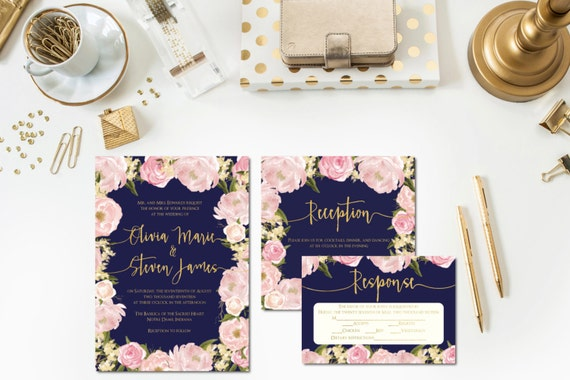 Navy Blush Gold Wedding Invitations Reception Card
