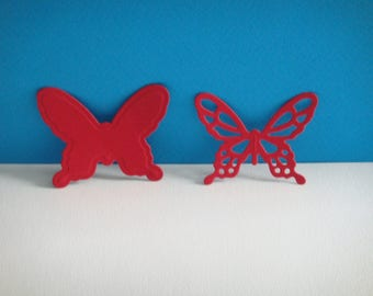 Cut red set of 2 butterflies of 4.4 cm in height