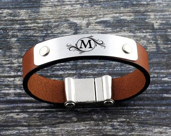 Personalized Leather Bracelet, Custom Initial Bracelet, Mens Bracelet, Personalized Jewelry, Anniversary Gift, Personalized Gift, Mens Gift