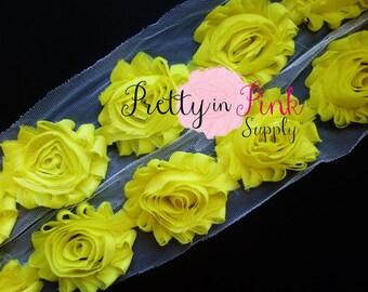 BRIGHT YELLOW Shabby Rose Trim - Shabby Chiffon Rosettes - Solid Shabby Trim - 1/2 Yard or 1 Yard - Shabby Flowers