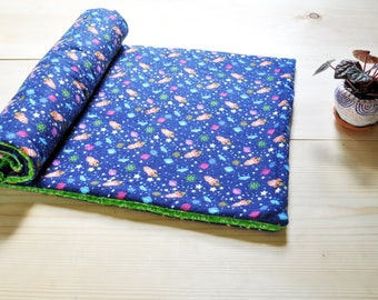 To the stars and beyond! Baby blanket- Flannel- Space Ships- Stars- Cotton- Machine Washable- Blue - Green