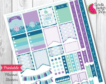 Printable Planner Stickers, Kawaii Whale Kit, Perfect for Erin Condren Planner and other planners