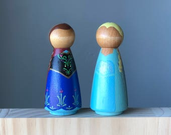 Large Anna and Elsa Peg Dolls, 3.5 inches, Frozen Princess